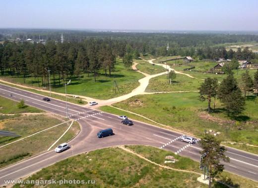 Перекресток улицы Алешина и Ангарского проспекта в Ангарске