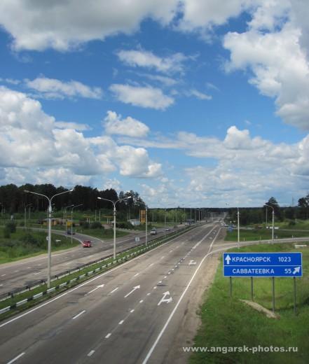 Трасса м53 на выезде из Ангарска